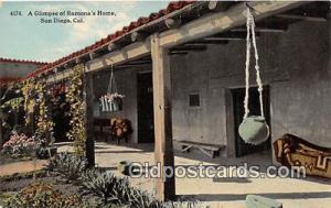 San Diego, CA, USA Postcard Post Card Ramona's home