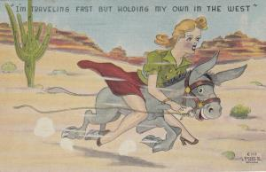 DONKEY Comic, 1930-40s; Woman riding Donkey through Desert