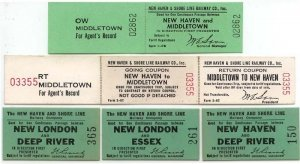 (5) Diff.  NEW HAVEN & SHORE LINE RAILWAY CO. Tickets
