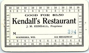 Waukesha Wisconsin Kendall's Restaurant Dining Pass Ephemera Unused AN41