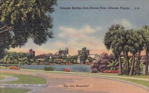 Florida Orlando Skyline From Across Eola The City Beautiful 1950