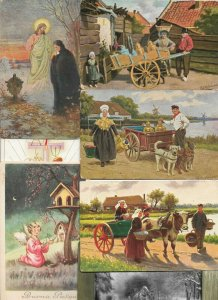 Artist Signed People Scenes With Dog Carts And More Postcard Lot of 20  01.15