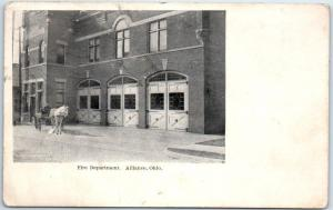 1907 Alliance, OH Postcard FIRE DEPARTMENT Street View MAIN STREET Stamp on Back