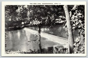 Independence Iowa~New Dam From Wapsipinicon River Bank~Trees~1937 B&W Linen