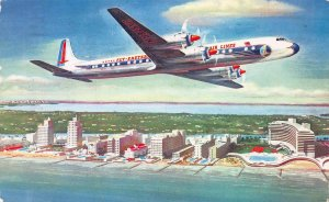 Eastern Air Lines Falcon, DC-7B, Postcard, Used, Eastern Air Parcel Post Label