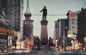 Salt Lake City at Night Postcard Main Street Brigham Young Monument 1960 Utah