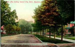 Vtg Cartolina Circa 1908 Park Pavé Ricerchi Toward Città - Appleton, Wisconsin