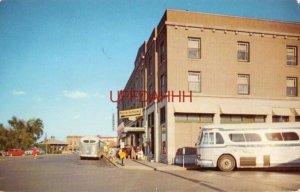 GREYSTONE HOTEL - GREYHOUND BUS DEPOT, DETROIT LAKES, MN. circa 1955