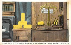 Gold Bricks Worth $125,000 Homestake Mine LEAD, SD Vintage Postcard ca 1920s