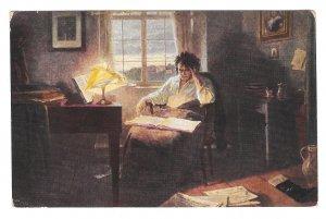Beethoven im Studieizimmer Eichstaedt Painting Abshagen HFA Germany Postcard