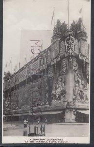 London Postcard - Coronation Decorations at The Selfridge Store  HM545