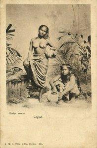 ceylon, Beautiful Native Nude Rodiya Women with Water Chatty Pottery (1899)