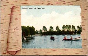 Scenery near Park Falls WI Lake Boat Postcard used 1900s/10s