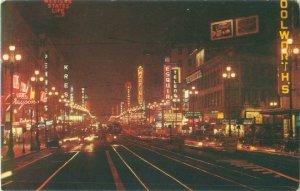 Vintage 1961 San Francisco, CA Market Street at Night  Postcard