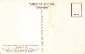 Glorieta Colon y Edificios Modernos Mexico Columbus Statue Vintage Postcard