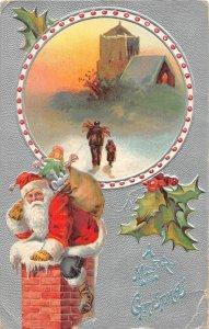G67/ Santa Claus Christmas Postcard c1910 Chimney Toys Holly 10
