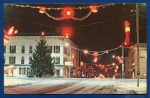 Galion Ohio Christmas Scene street view public square at night postcard