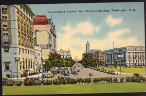 DC WASHINGTON Pennsylvania Ave from Treasury Building Cars Store Fronts LINEN