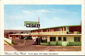 Pacific Beach San Diego California~Mission Bay Motel~Lime & Pink~1940-50s Cars