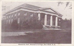 South Carolina Due West Memorial Hall Womans College 1944