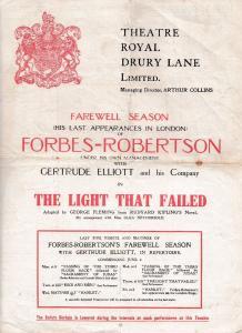 The Light That Failed Forbes Robertson GOODBYE Rudyard Kipling Theatre Programme
