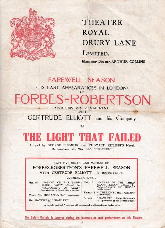 The Light That Failed Forbes Robertson Rudyard Kipling Theatre Programme