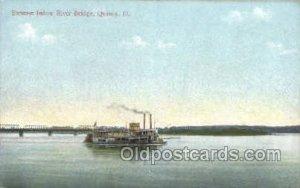 Steamer Below River Bridge, Quincy, Illinois, USA Ferry Boats, Ship Unused