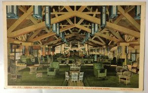 Grand Canyon Hotel Yellowstone Park Wyoming Postcard Haynes Lounge