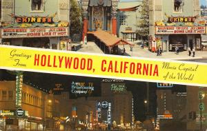 Hollywood California~Banner Greetings~Movie Capital~Grauman's~Neon ABC~NBC~1960