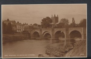Herefordshire Postcard - Hereford, Wye Bridge and Cathedral   RS8689
