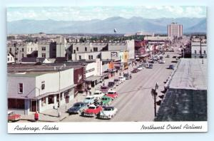 Postcard AK Anchorage 1950's Street View Northwest Orient Airlines Issue R60