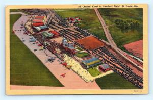 Postcard MO St. Louis Aerial View of Lambert Field Vintage Linen H16