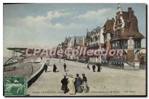 Old Postcard Mers les Bains (Somme) La Promenade de la Plage
