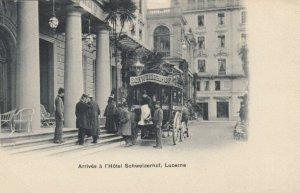 LUCERNE , Switzerland , 00-10s ; Arrivee a l'Hotel Schweizerhof
