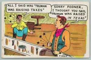 Texas~Comic~Bar Fight~Truman Was Raising Taxes-Raised in Texas~Ashtray~1950s
