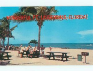Unused Pre-1980 PICNIC TABLES AT BEACH Fort Lauderdale Florida FL d6778