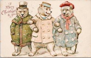 Three Dressed Teddy Bears Merry Christmas Fantasy 460 Ernest Nister Postcard G55