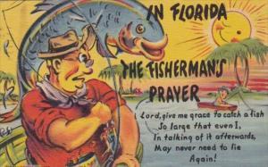 Florida Humour The Fisherman's Prayer 1954 Curteich