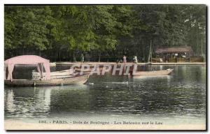 Paris Old Postcard Bois de Boulogne boats on the lake