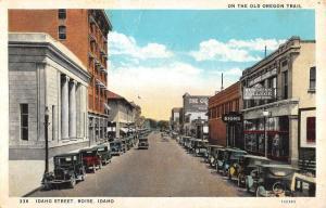 Boise Idaho Business District Street View Antique Postcard K31718