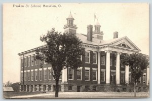 Massillon Ohio~Franklin Street School~1907 B&W Rotograph Postcard