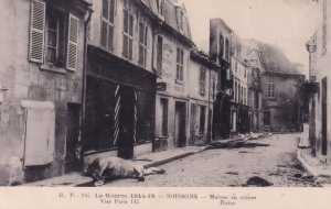 Soissons Bombardement par Allemands Maison En Ruines Horse Killed French War ...
