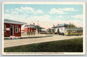 Jefferson Barracks MO~Street Car Station~Post Office~Trolley~PX Exchange~WWI PC