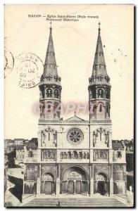 Postcard Old Macon Saint Pierre Church Historical Monument