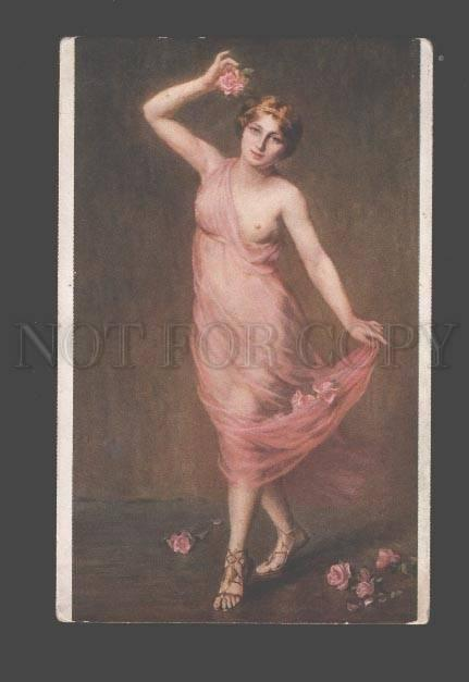 093957 NUDE Female DANCER Roses by DEPRAS-WILLEMETZ old SALON