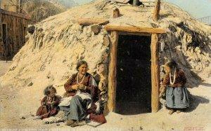 Ganado, Arizona Hogan Native American Navajo Indians ca 1910s Vintage Postcard