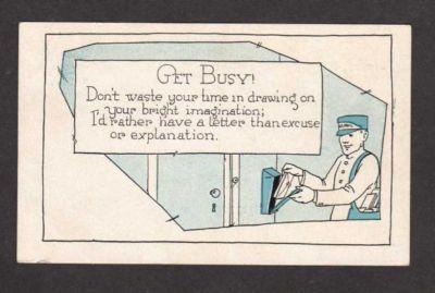 Get Busy Letter Reminder Mailman Mail Box Postcard PC