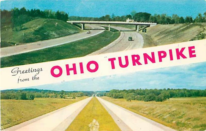 Highway Scenic Greetings from Ohio OH Turnpike 1957 Chrome