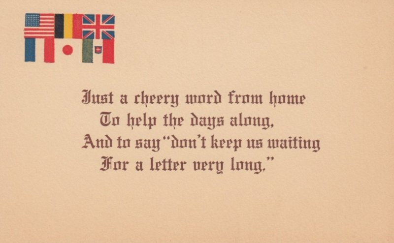 Six Allied Country Flags, Poem, 1900-10s