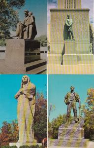 0084 Grabbag Auction 4 Statues Postcards Starting At .99